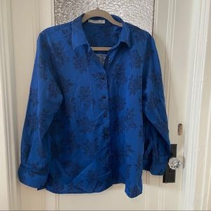Foxcroft Royal Blue Blouse w Flower Design
